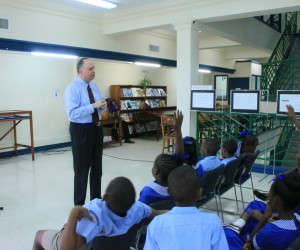 JSI Founder David Wallace talking with students in Barbados
